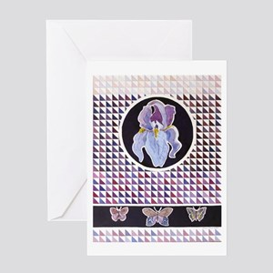 Iris And Butterflies Greeting Cards