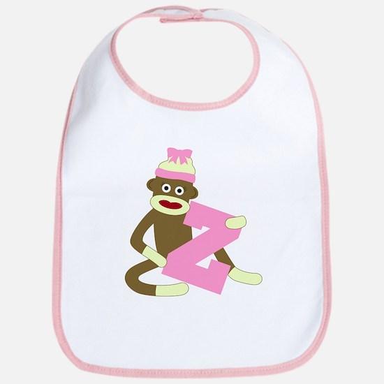 Sock Monkey Monogram Girl Z Baby Bib
