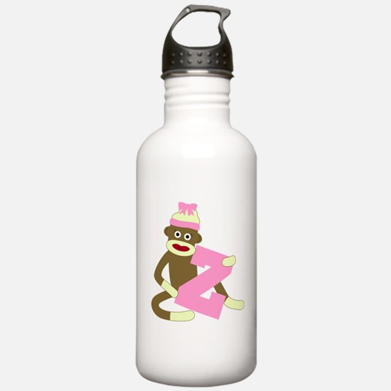 Sock Monkey Monogram Girl Z Water Bottle