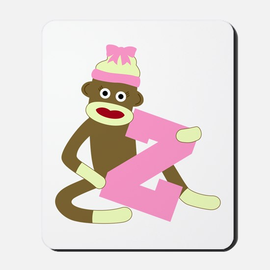 Sock Monkey Monogram Girl Z Mousepad