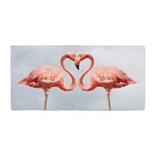 Pink Flamingos In Love Beach Towel