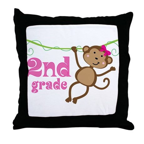 Cute 2nd Grade Monkey Gift Throw Pillow
