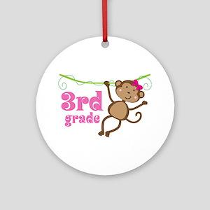 Cute 3rd Grade Monkey Gift Ornament (Round)