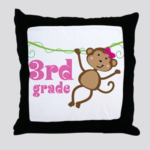 Cute 3rd Grade Monkey Gift Throw Pillow