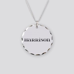 Harrison Carved Metal Necklace Circle Charm