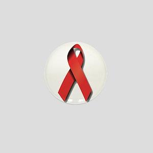 Red Ribbon Mini Button