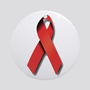 Red Ribbon Ornament (Round)