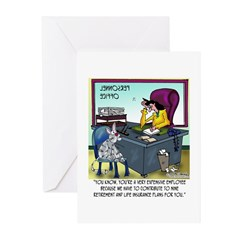 Cat Has 9 Life Insurance Plans Greeting Cards (Pk