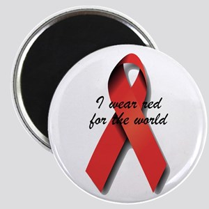 I Wear Red For The World. Magnet