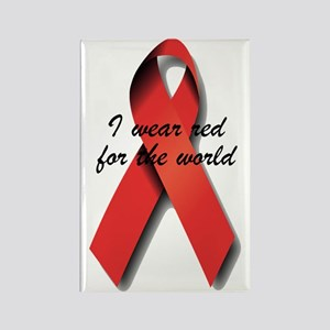 I Wear Red For The World. Rectangle Magnet