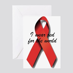 I Wear Red For The World. Greeting Card