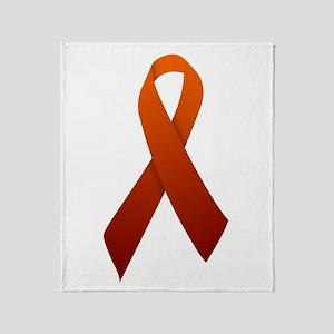 Orange Ribbon Throw Blanket