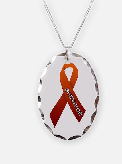 Orange Ribbon 'Survivor' Necklace