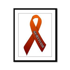 Orange Ribbon 'Survivor' Framed Panel Print
