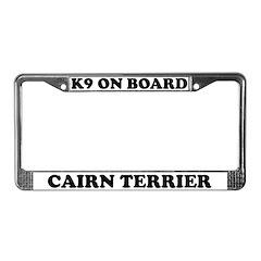 K9 On Board Cairn Terrier License Plate Frame