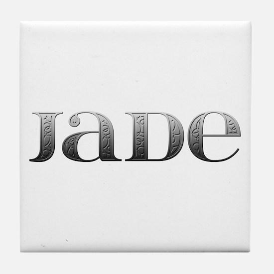 Jade Carved Metal Tile Coaster