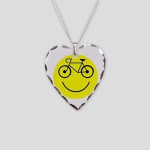 Smiley Cycle Necklace Heart Charm