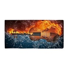 Fire And Water Violin Beach Towel