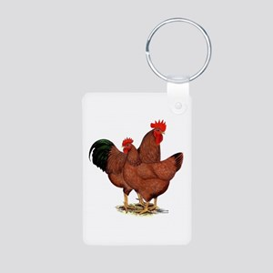 Production Red Chickens Aluminum Photo Keychain