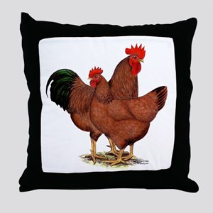 Production Red Chickens Throw Pillow