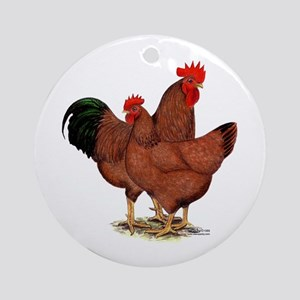 Production Red Chickens Ornament (Round)