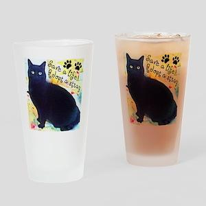 Stray Black Kitty Drinking Glass