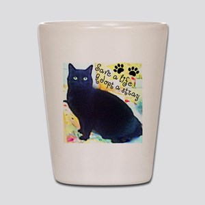 Stray Black Kitty Shot Glass