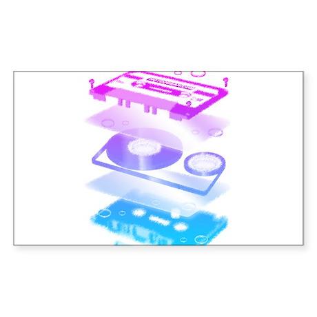 Cassette Explosion Sticker (Rectangle)
