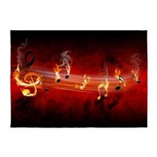 Hot Music Notes 5'x7' Area Rug