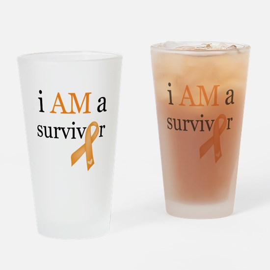 i AM a survivor (Orange) Drinking Glass
