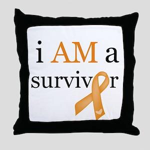 i AM a survivor (Orange) Throw Pillow