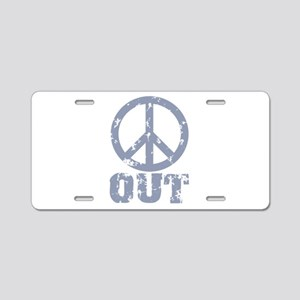 Peace Out Aluminum License Plate