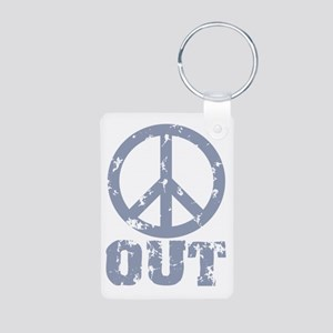 Peace Out Aluminum Photo Keychain