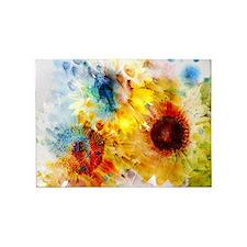 Watercolor Sunflowers 5'x7' Area Rug