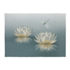 Lotus And Dragonfly 5'x7' Area Rug