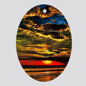 Painted Evening Sky Ornament (Oval)