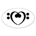 Bass Heart Sticker (Oval 50 pk)