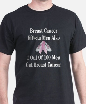 Male Breast Cancer Awareness Black T-Shirt