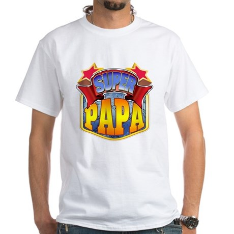super papa men 39 s classic t shirts super papa white t shirt. Black Bedroom Furniture Sets. Home Design Ideas