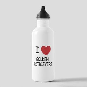 I heart golden retrievers Stainless Water Bottle 1