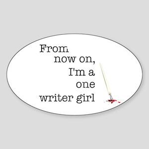 One writer girl Sticker (Oval)