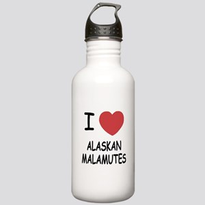 I heart alaskan malamutes Stainless Water Bottle 1
