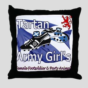 Tartan Army Scottish Girls Throw Pillow