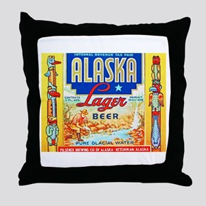 Alaska Beer Label 1 Throw Pillow