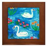 Two Swans Framed Tile