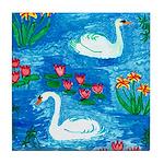 Sushila Burgess Swans Tile Coaster
