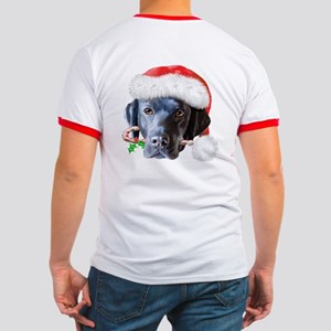 Black Lab Christmas Ringer T