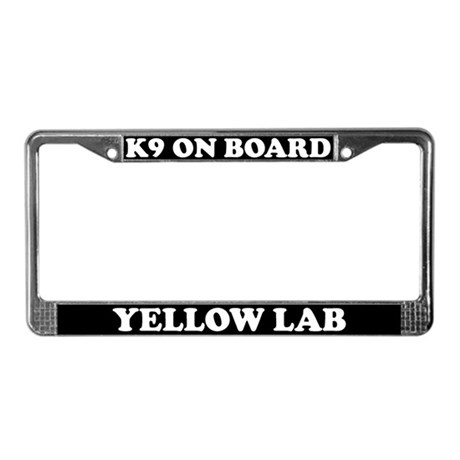 K9 On Board Yellow Lab License Plate Frame