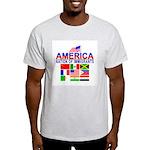 Patriotic America NOI Flags Ash Grey T-Shirt