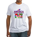 Patriotic America NOI Flags Fitted T-Shirt